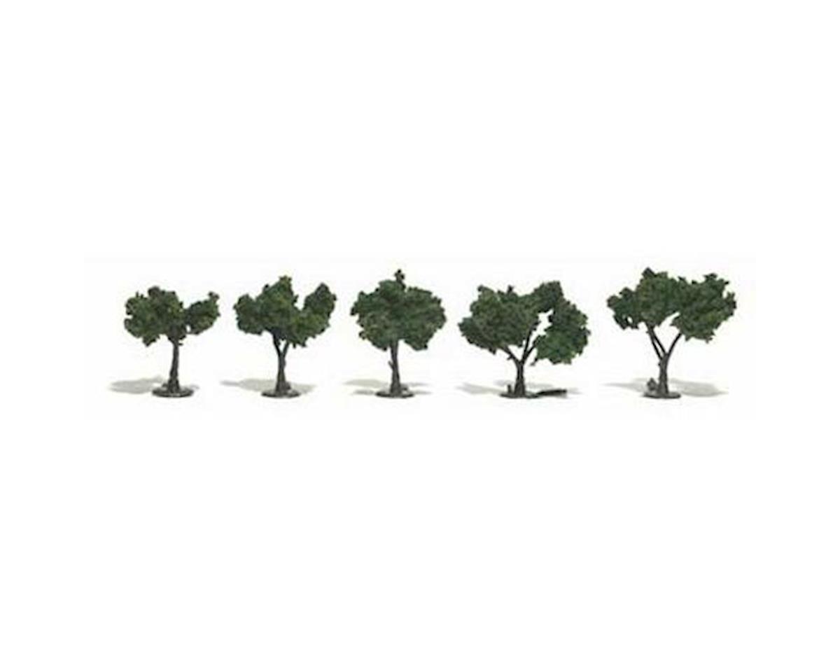 """Ready-Made Tree, Medium Green 1.25-2"""" (5) by Woodland Scenics"""