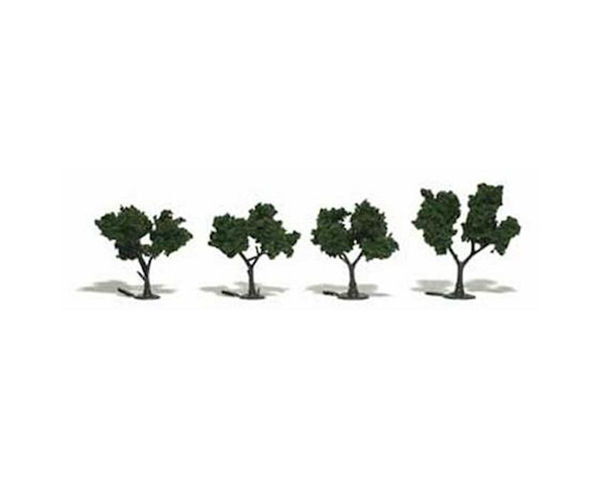 "Woodland Scenics Ready-Made Tree, Medium Green 2-3"" (4)"