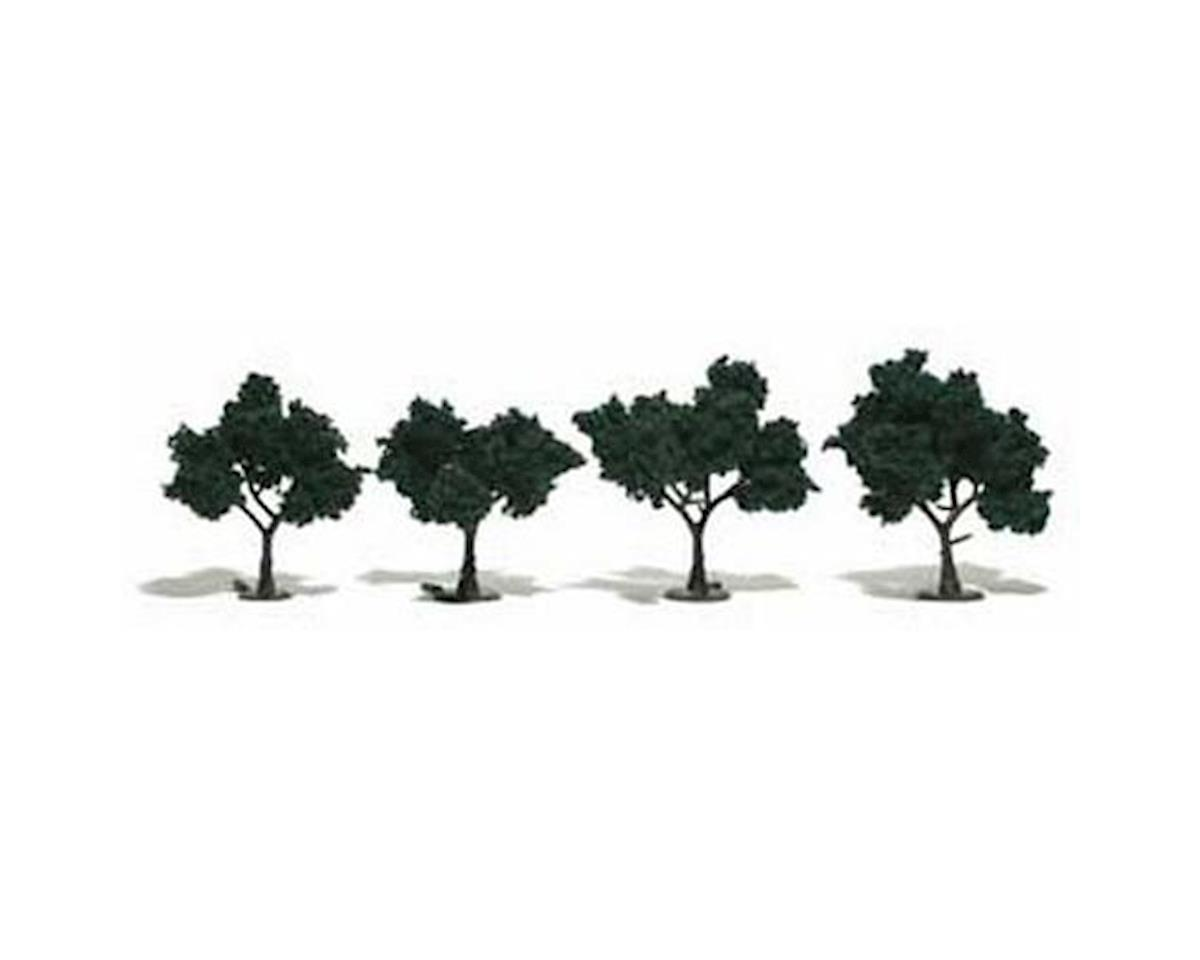 "Woodland Scenics Ready-Made Tree, Dark Green 2-3"" (4)"