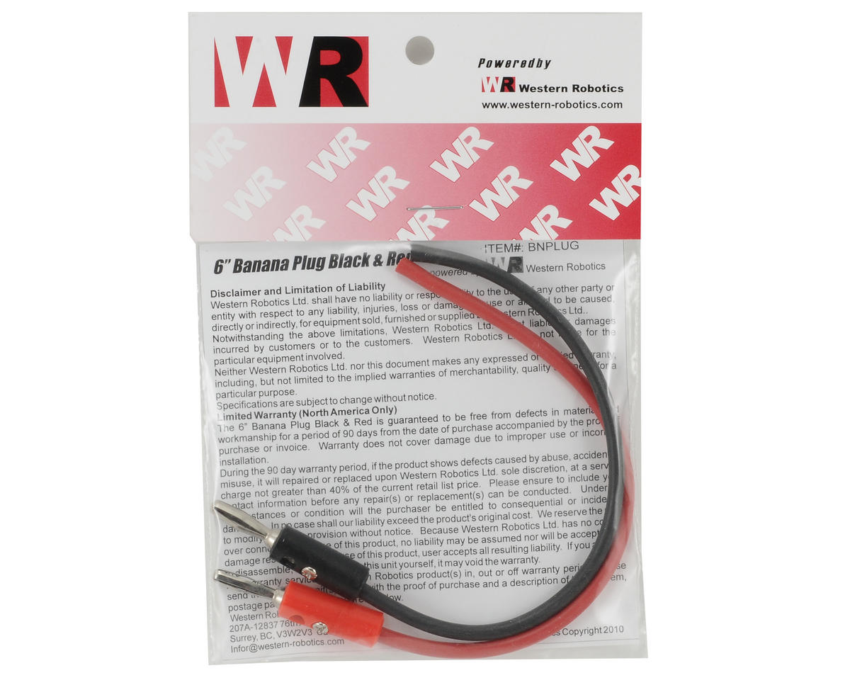 "Western Robotics 6"" Banana Plug (Black/Red) (2)"