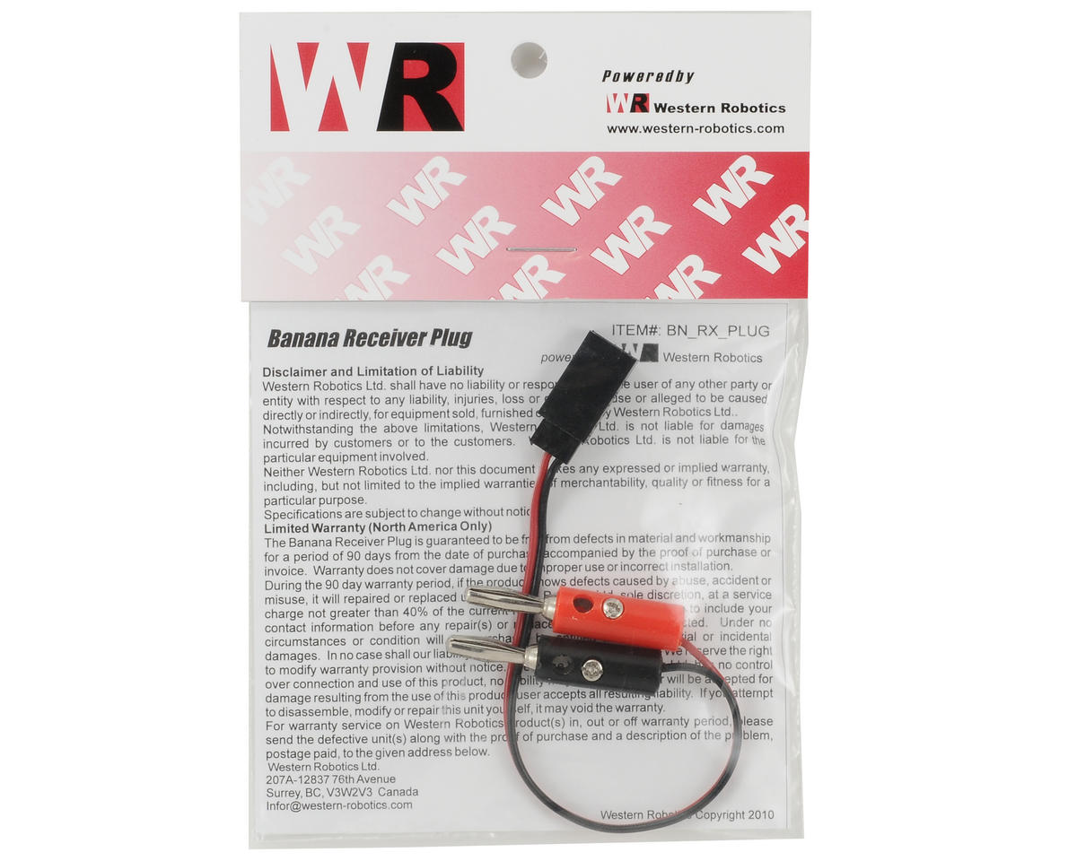 Western Robotics Receiver Battery Charge Lead w/Banana Plug