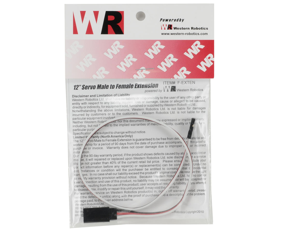 "Western Robotics 12"" Male to Female Servo Extension"