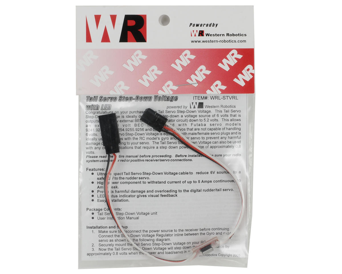 Tail Servo Step-Down Voltage Regulator w/LED Indicator by Western Robotics