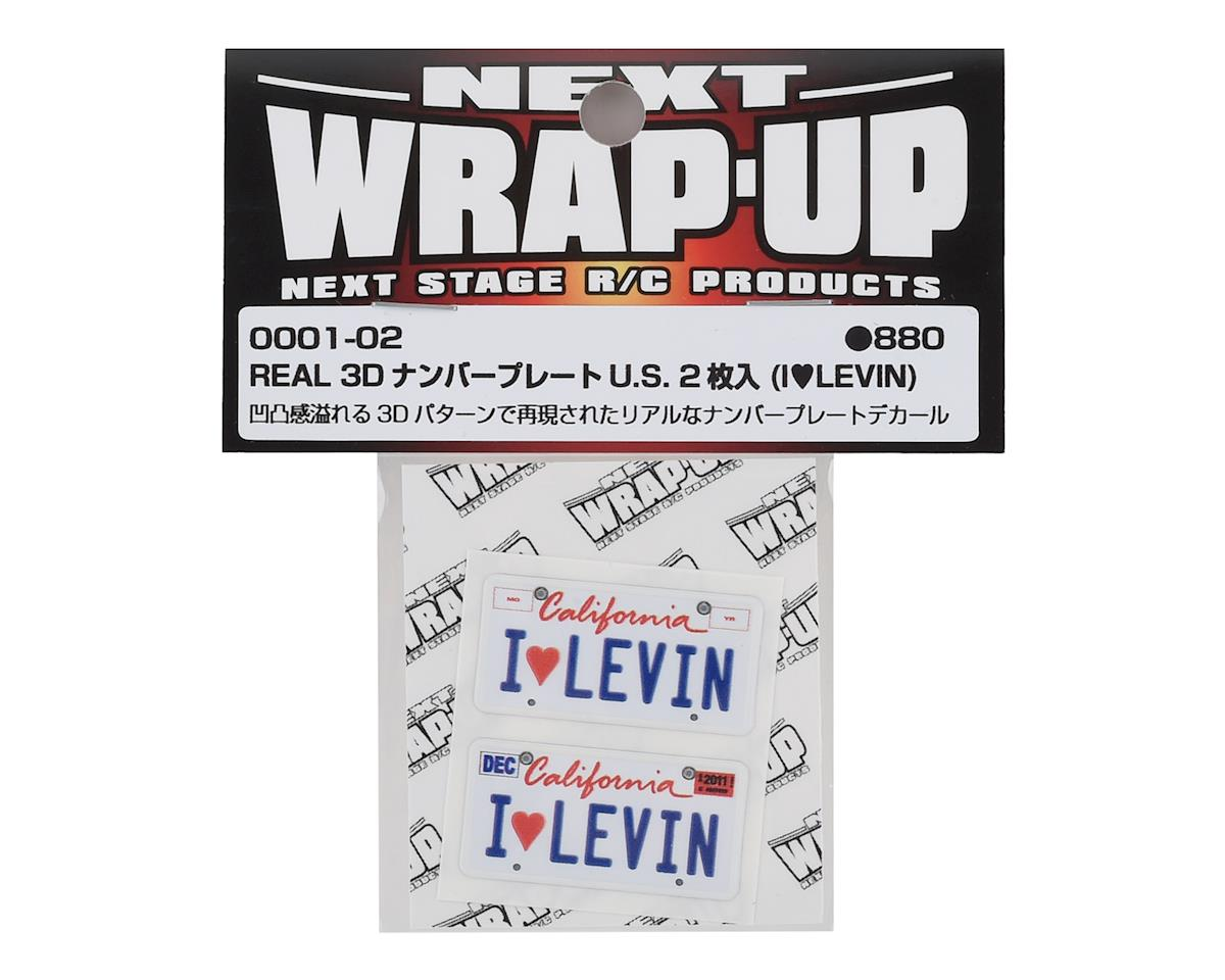 WRAP-UP NEXT REAL 3D U.S. Licence Plate (2) (I LOVE LEVIN) (11x50mm)