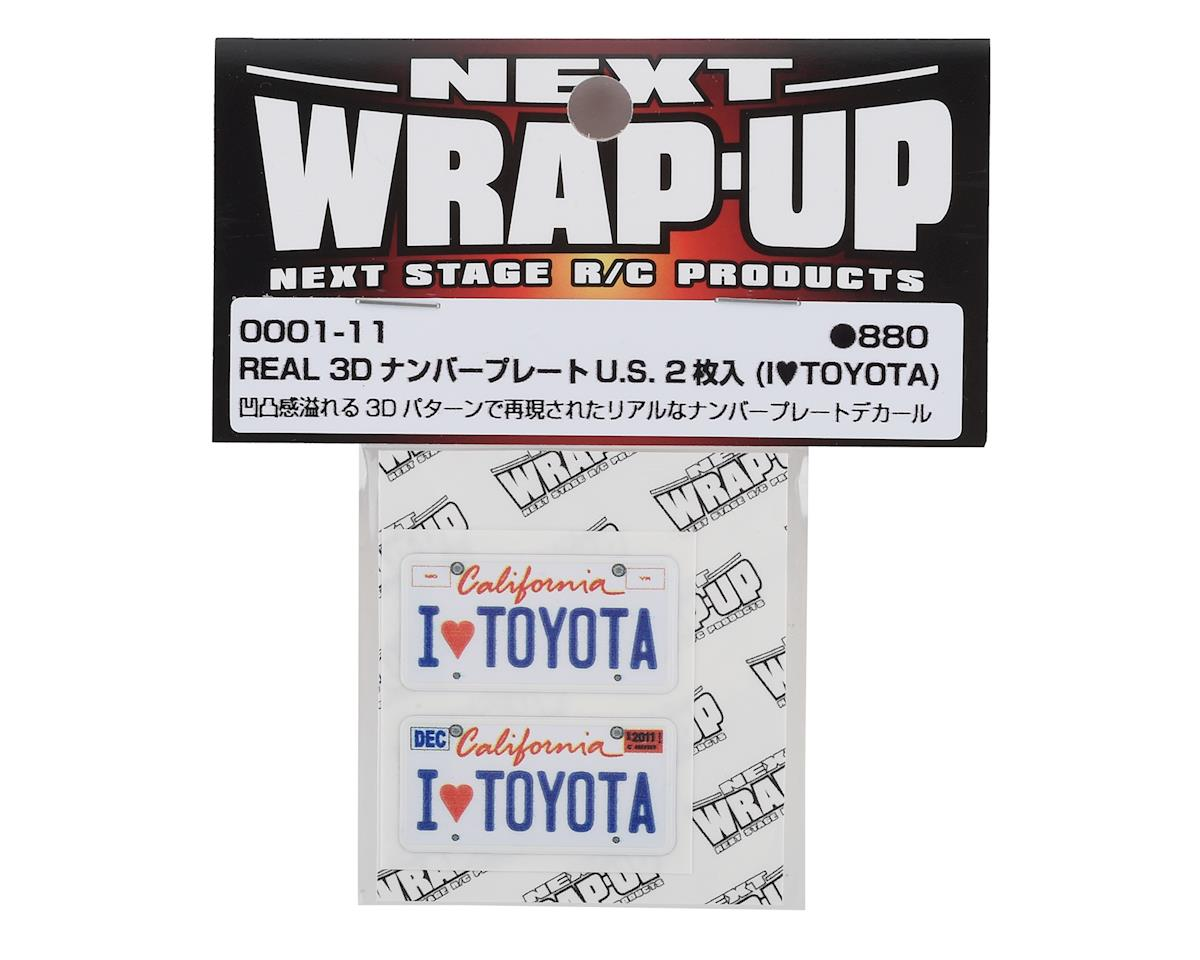 WRAP-UP NEXT REAL 3D U.S. Licence Plate (2) (I LOVE TOYOTA) (11x50mm)