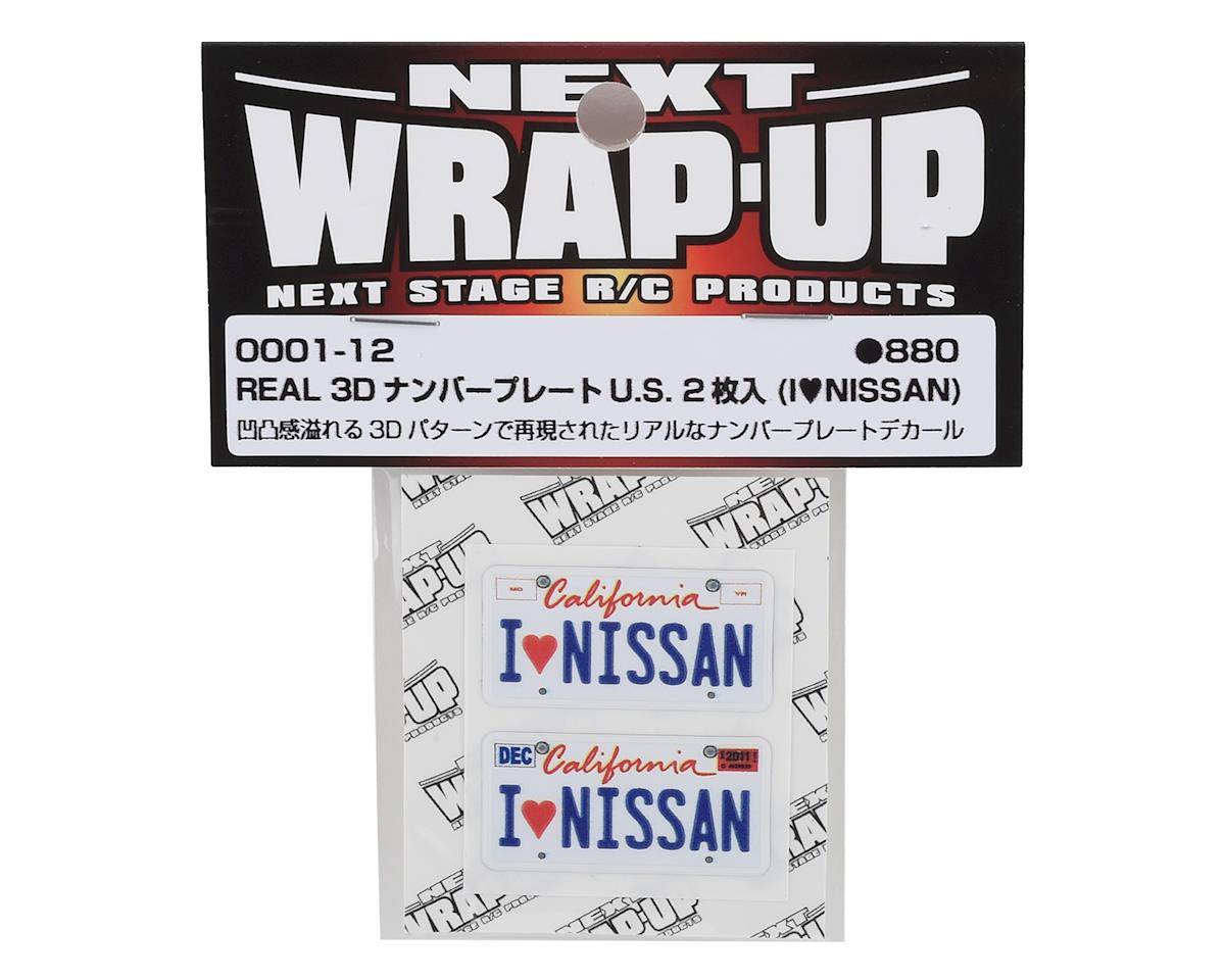 WRAP-UP NEXT REAL 3D U.S. Licence Plate (2) (I LOVE NISSAN) (11x50mm)