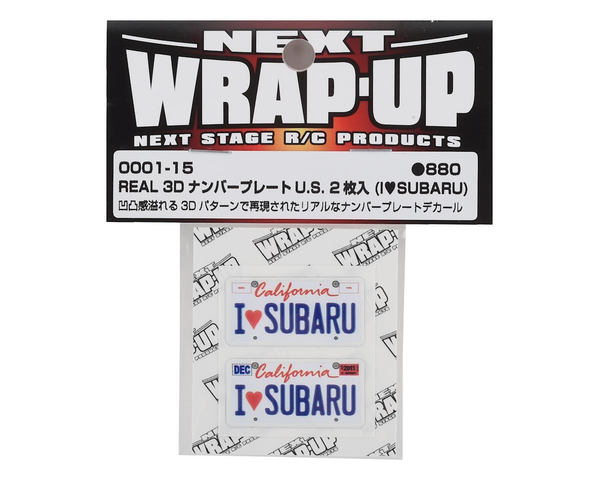WRAP-UP NEXT REAL 3D U.S. Licence Plate (2) (I LOVE SUBARU) (11x50mm)