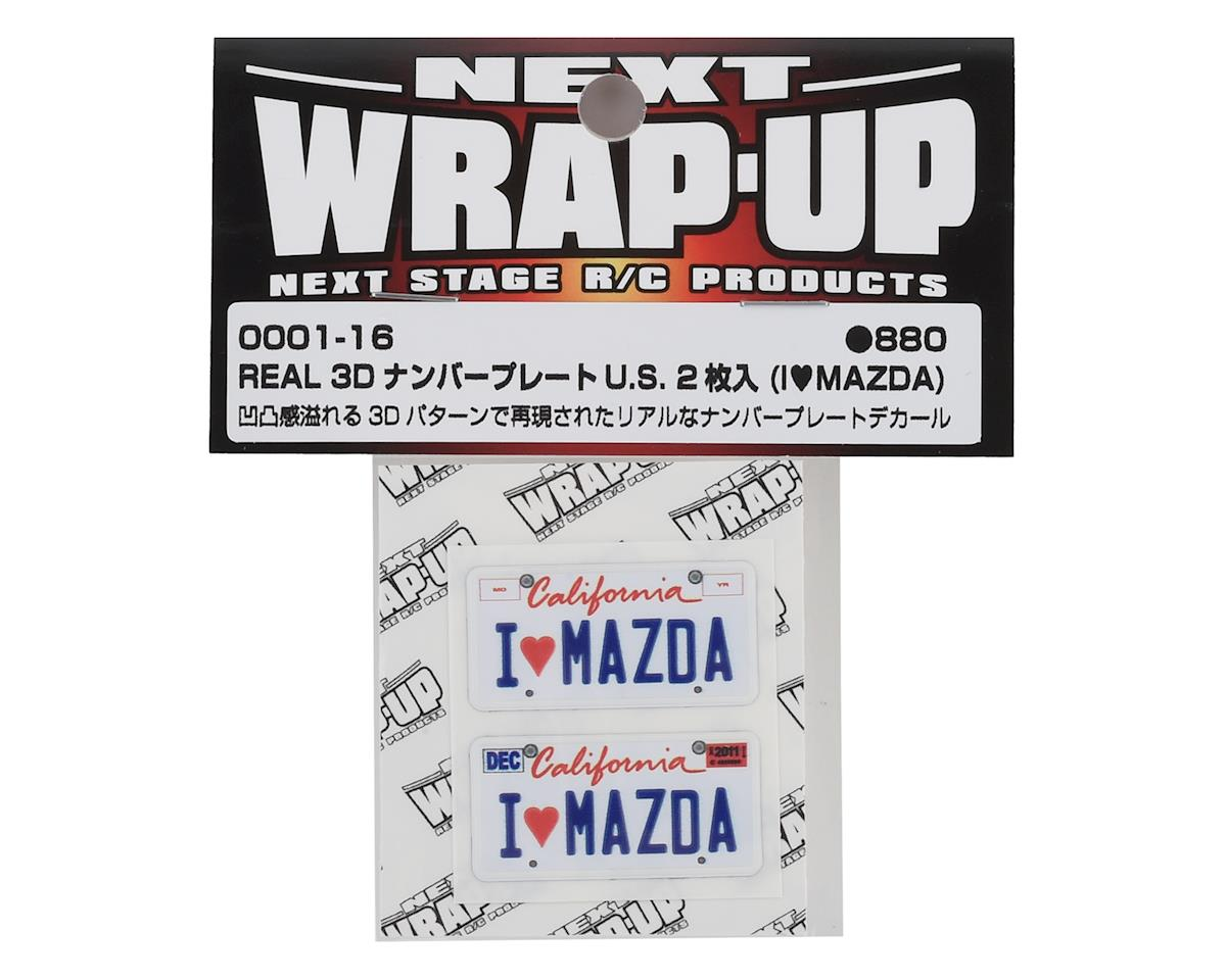 WRAP-UP NEXT REAL 3D U.S. Licence Plate (2) (I LOVE MAZDA) (11x50mm)