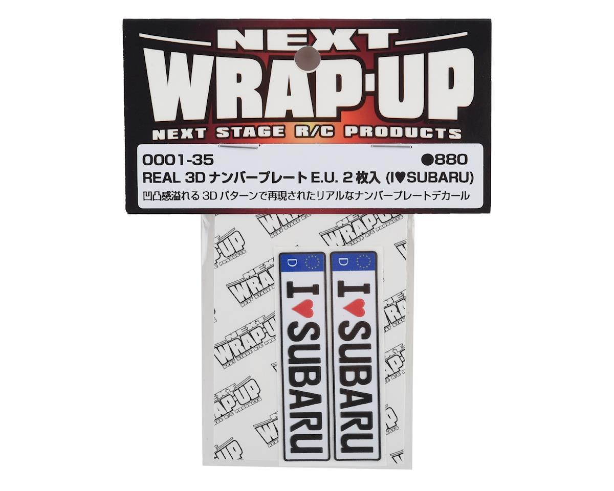 WRAP-UP NEXT REAL 3D E.U. Licence Plate (2) (I LOVE SUBARU) (11x50mm)