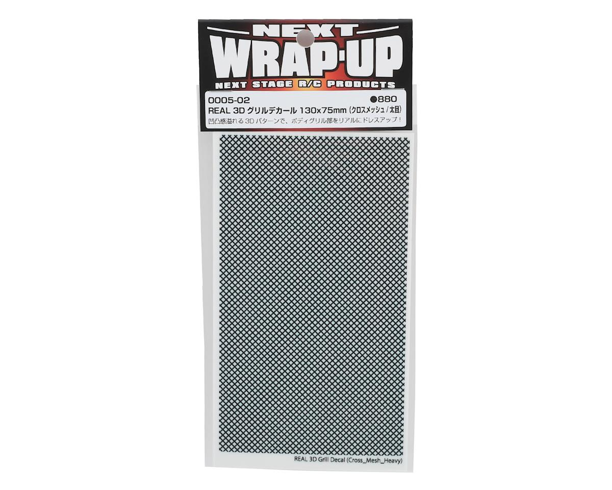 WRAP-UP NEXT REAL 3D Grill Decal (Black) (Cross-Mesh/Thick) (130x75mm)