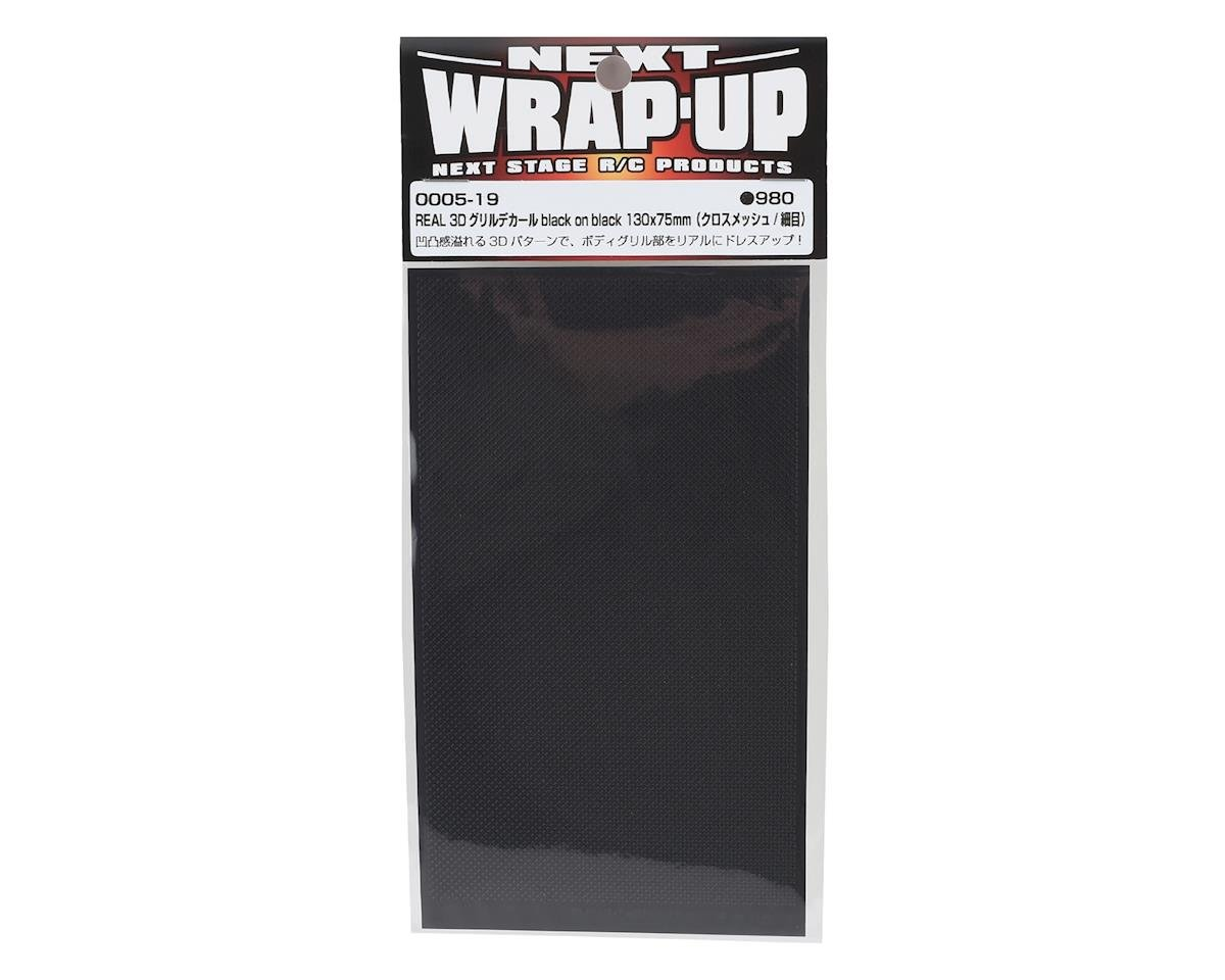 WRAP-UP NEXT REAL 3D Grill Decal (Black/Black) (Cross-Mesh/Thin) (130x75mm)