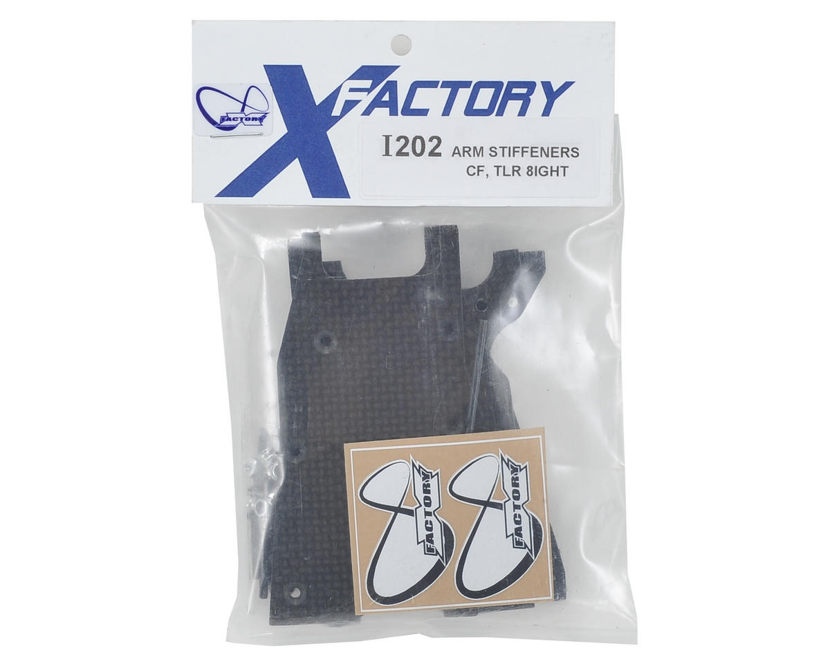 "X Factory ""Infinity"" Carbon Fiber TLR 8IGHT 3.0 Front & Rear Arm Stiffener Set"