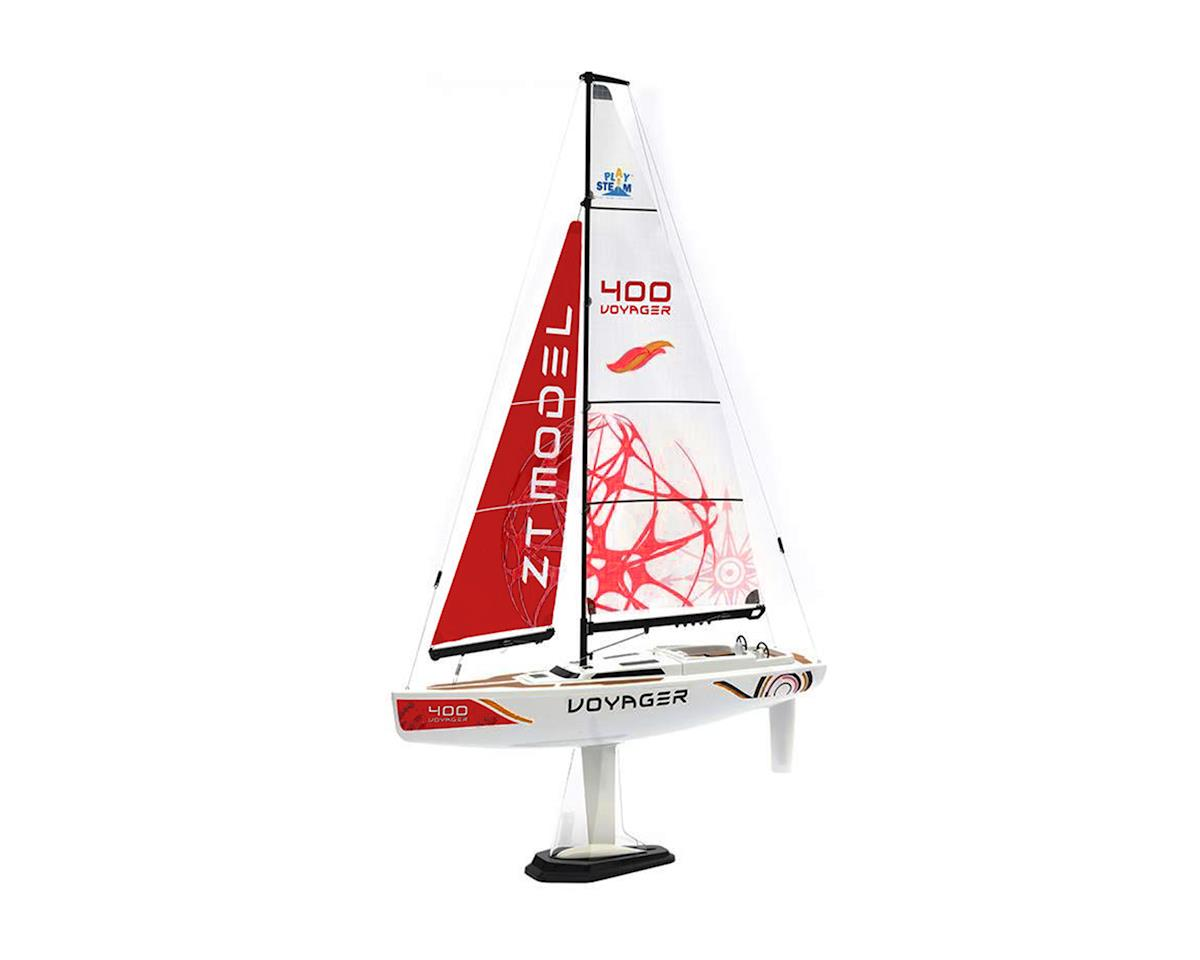PlaySTEAM Voyager 400 Sailboat w/2.4GHz Transmitter (Red)