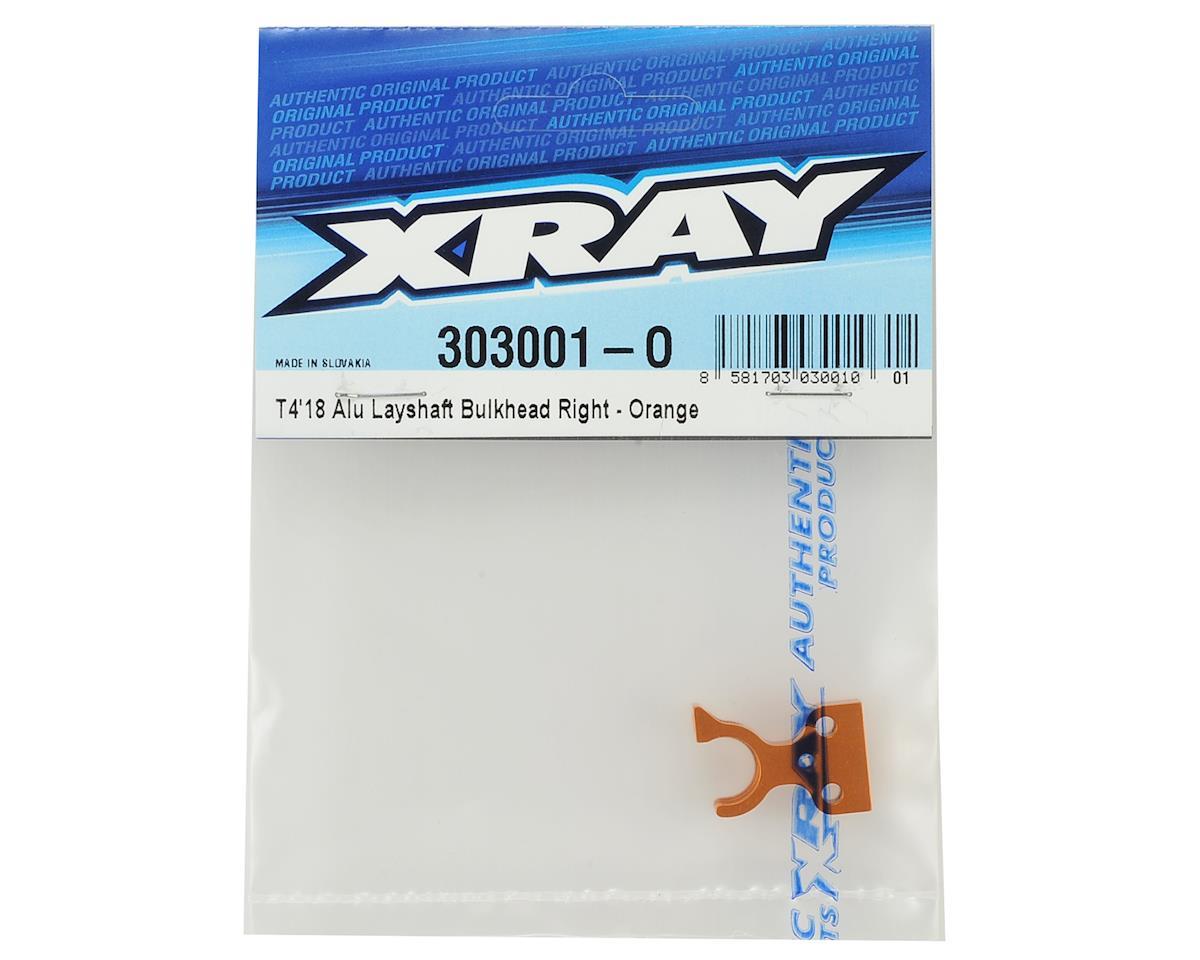 XRAY T4 2018 Aluminum Layshaft Right Bulkhead (Orange)