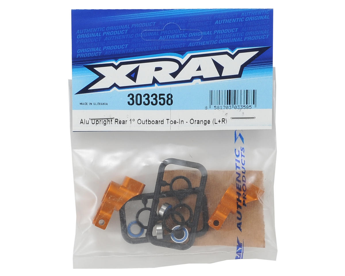 XRAY T2 Aluminum Rear Upright 1° Outboard Toe-In (L+R) (T2 008)