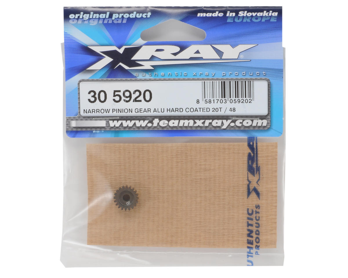 XRAY Aluminum 48P Narrow Hard Coated Pinion Gear (20T)