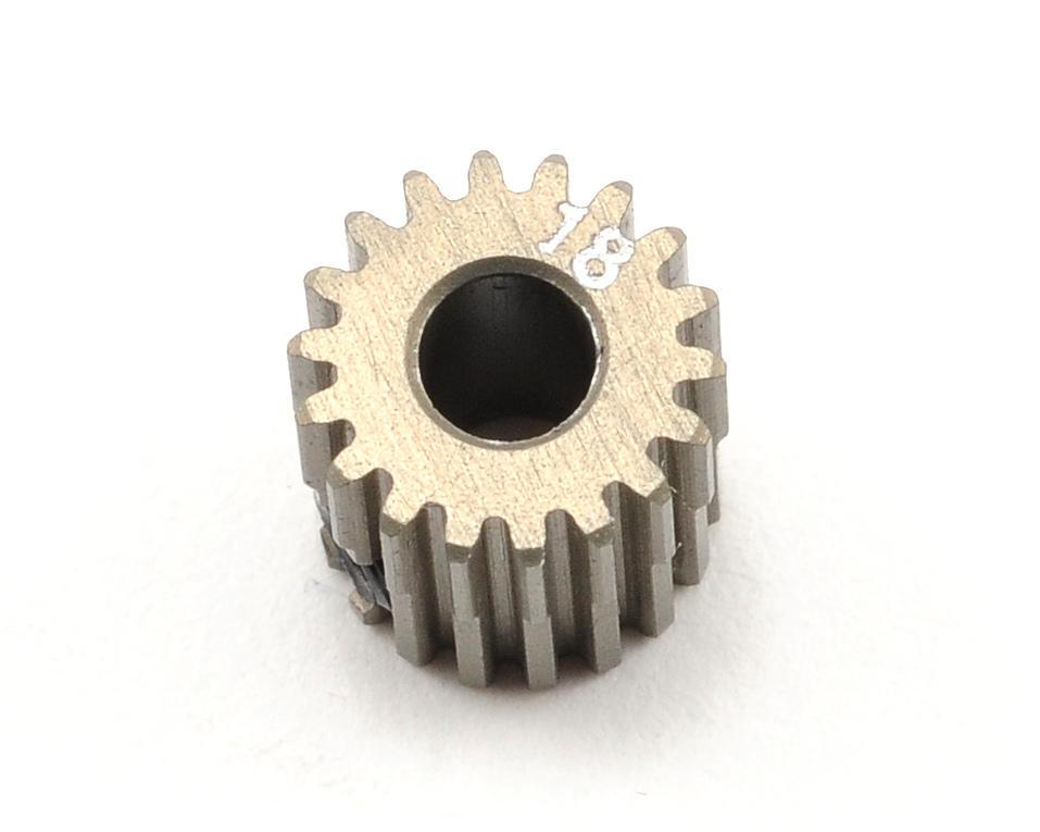 Aluminum 64P Narrow Hard Coated Pinion Gear (18T) by XRAY