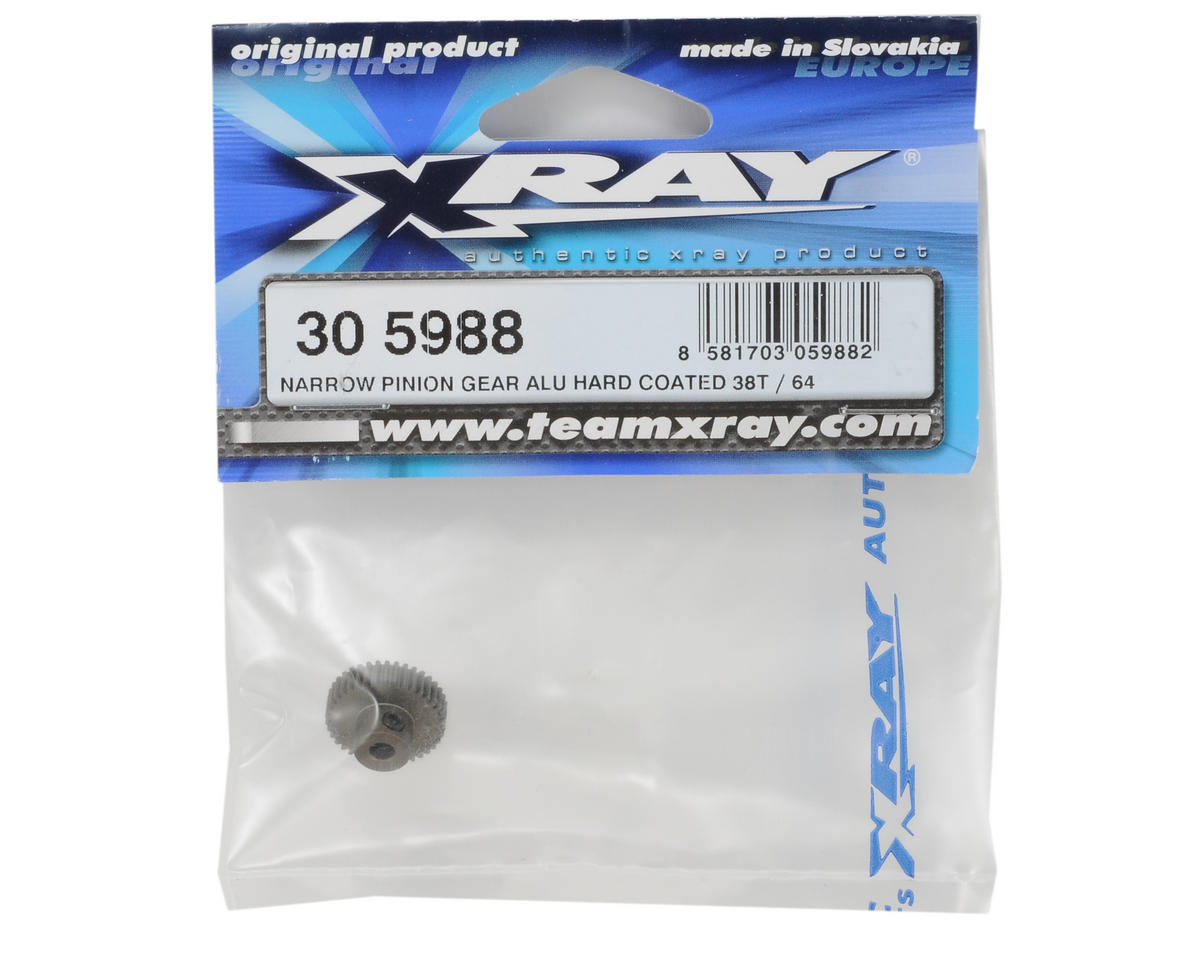 Aluminum 64P Narrow Hard Coated Pinion Gear (38T) by XRAY