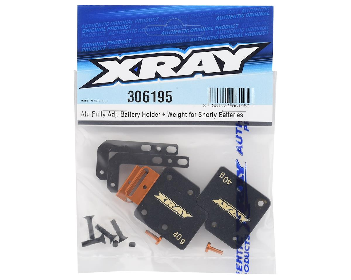 "XRAY T4 2019 Aluminum ""Shorty"" Adjustable Battery Holder & Weight Set"