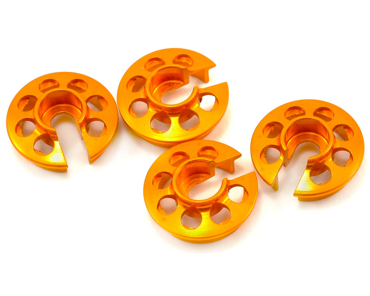 XRAY T2 008 Aluminum Shock Spring Retaining Collar Set (Orange) (4)