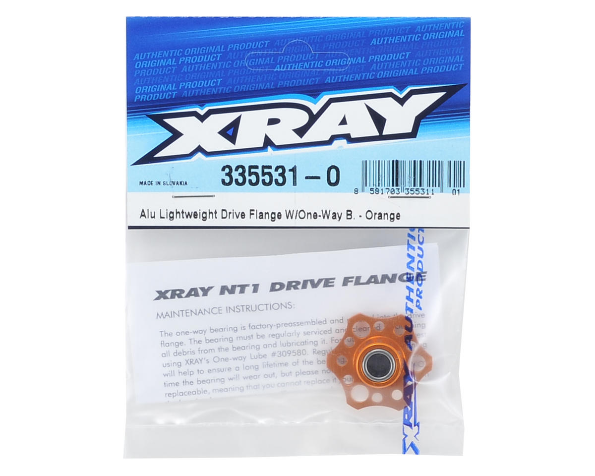 Lightweight Aluminum Drive Flange w/One-Way Bearing (Orange) by XRAY