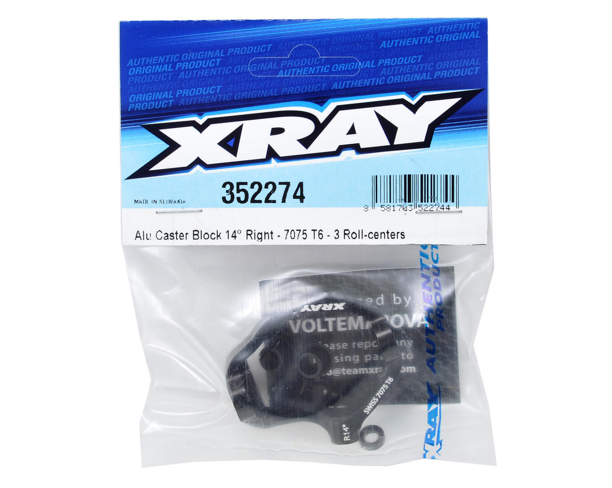 XRAY 14° Hard Coated Aluminum Right Caster Block (Black)