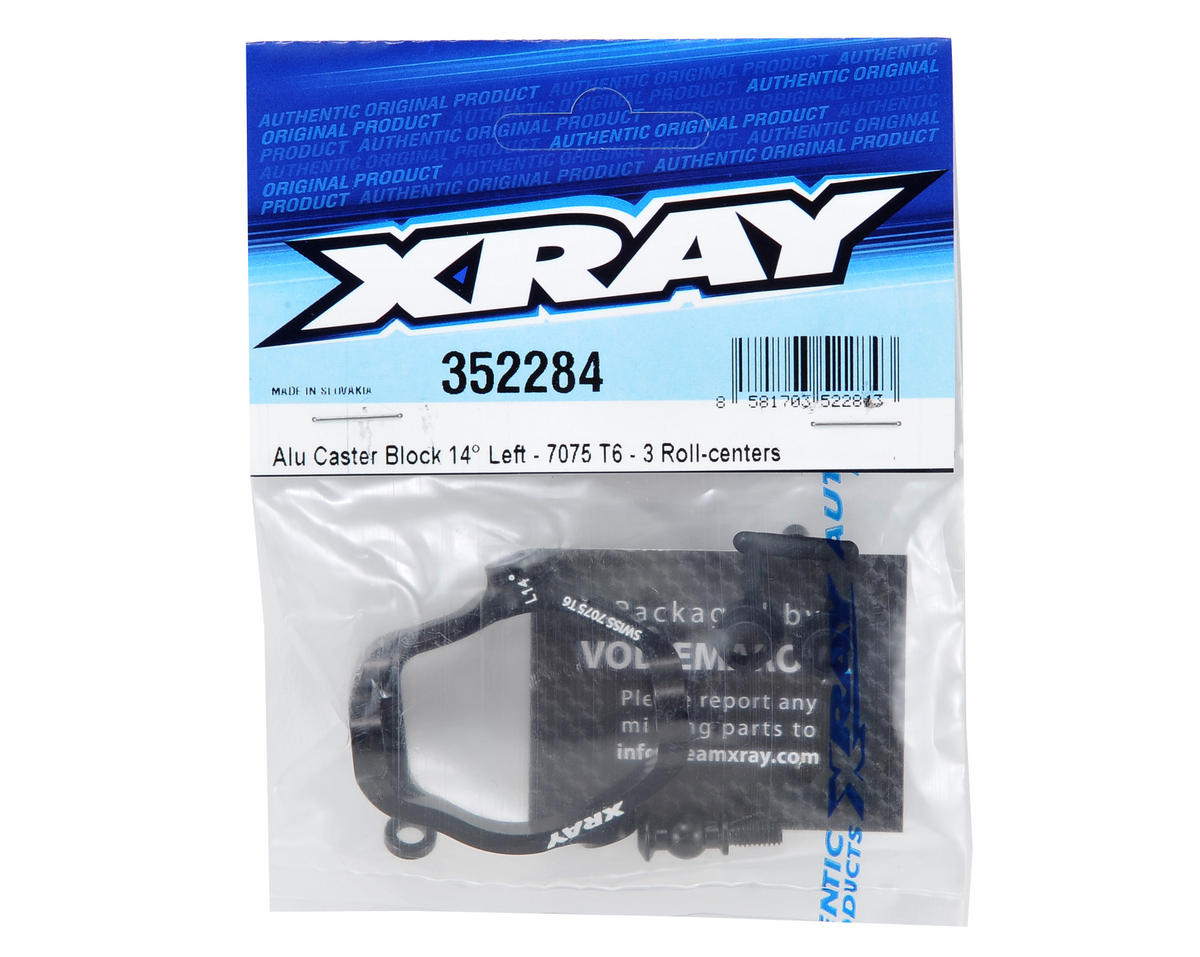 XRAY 14° Hard Coated Aluminum Left Caster Block (Black)