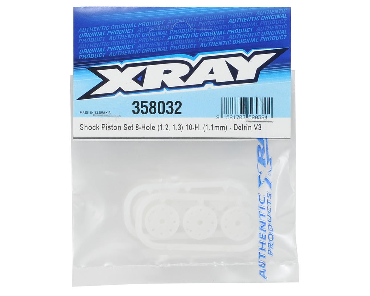 XRAY Delrin V3 Shock Piston Set (8x1.2/1.3, 10x1.1) (6)
