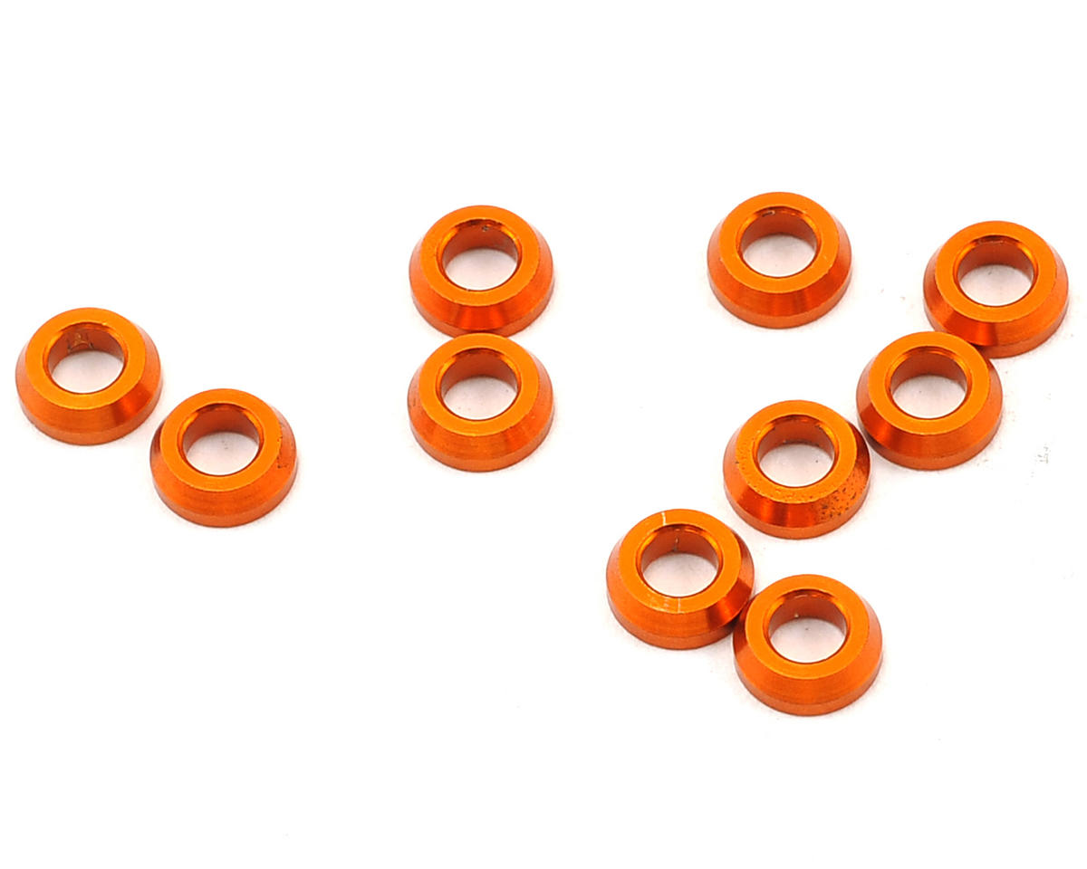 3x6x2.0mm Aluminum Conical Shim (Orange) (10) by XRAY