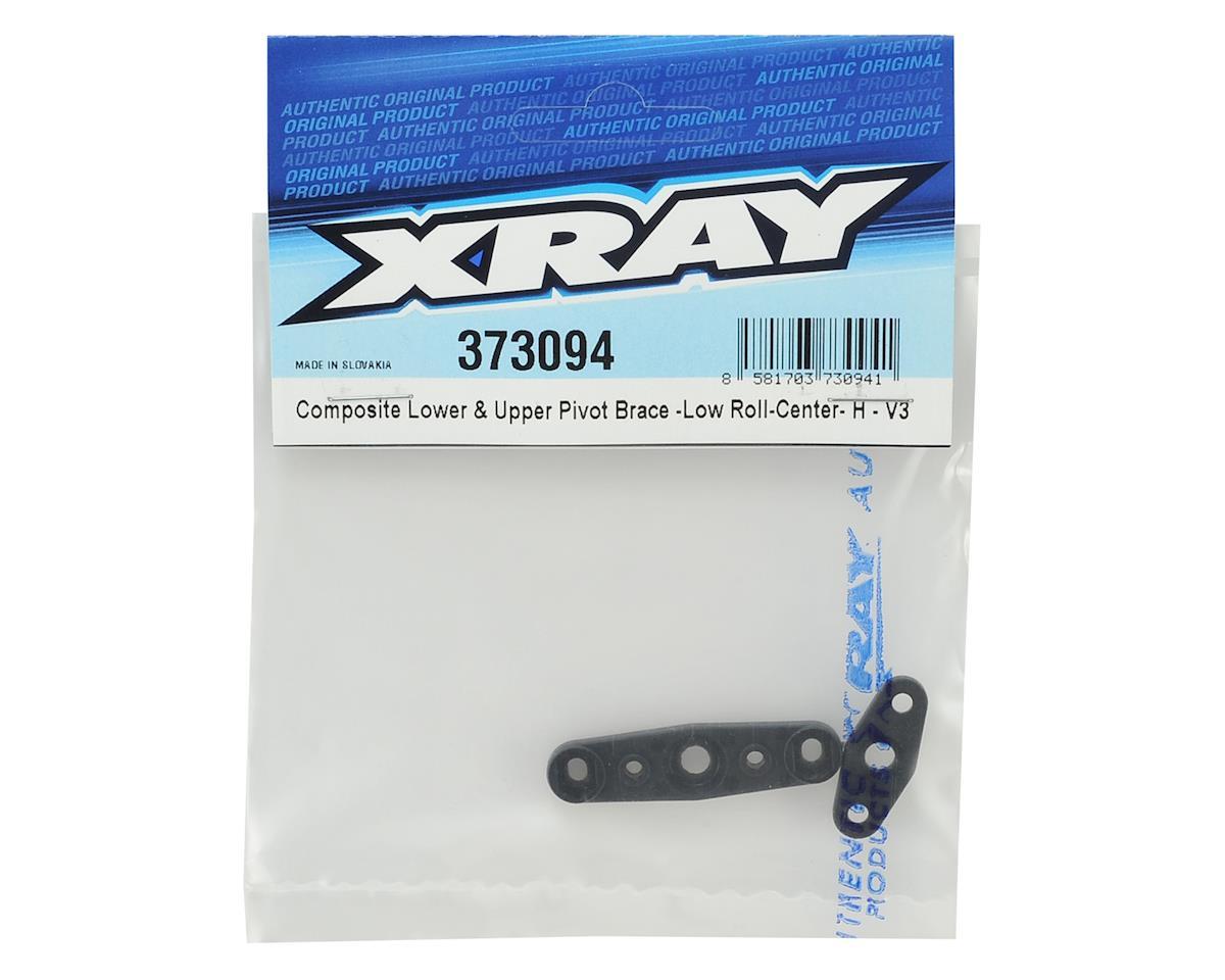 XRAY V3 Composite Lower & Upper Low Roll-Center Pivot Brace (Hard)