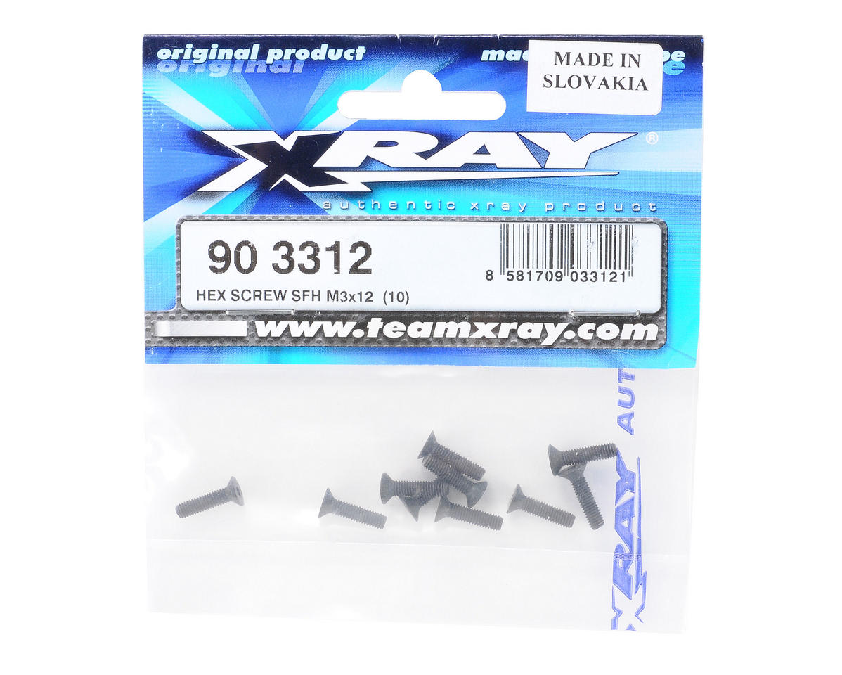 3x12mm Flat Head Hex Screw (10) by XRAY
