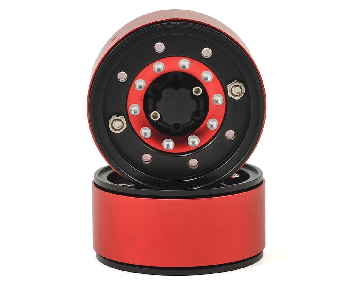 "Xtra Speed Rock Crusher High Mass 1.9"" Aluminum Beadlock Wheel (Black/Red) (2)"
