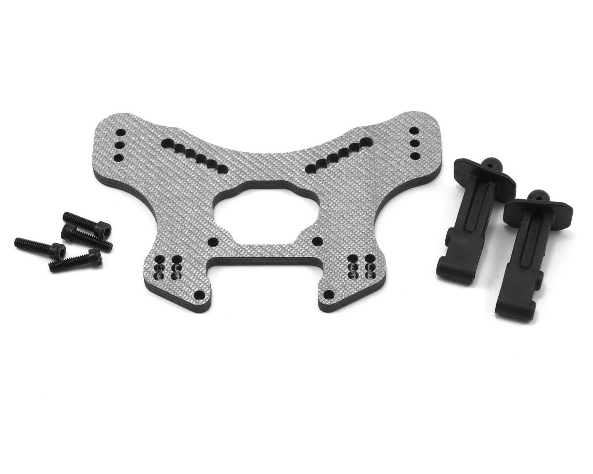 Xtreme Racing 4mm Carbon Fiber Short Course Truck Front Shock Tower (Silver) (Losi 8ight 2.0)