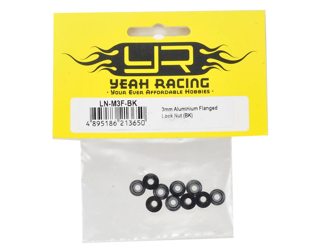 Yeah Racing 3mm Aluminum Flanged Lock Nut (10) (Black)