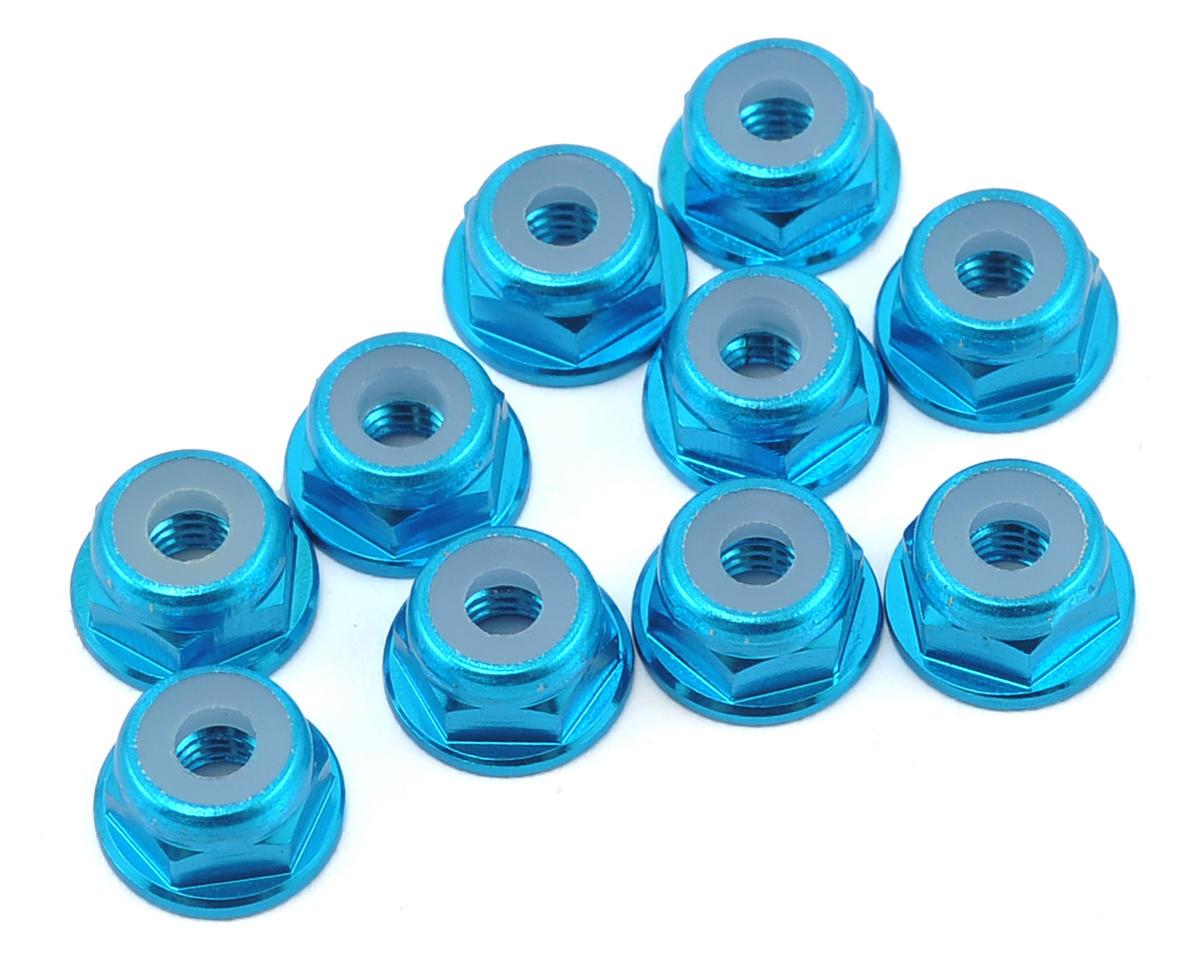 Yeah Racing 3mm Aluminum Flanged Lock Nut (10) (Light Blue)