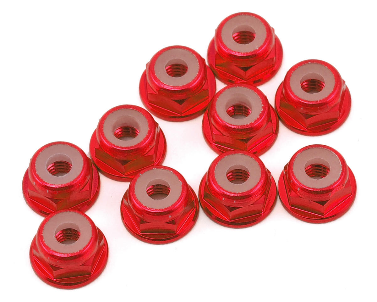 Yeah Racing 3mm Aluminum Flanged Lock Nut (10) (Red)