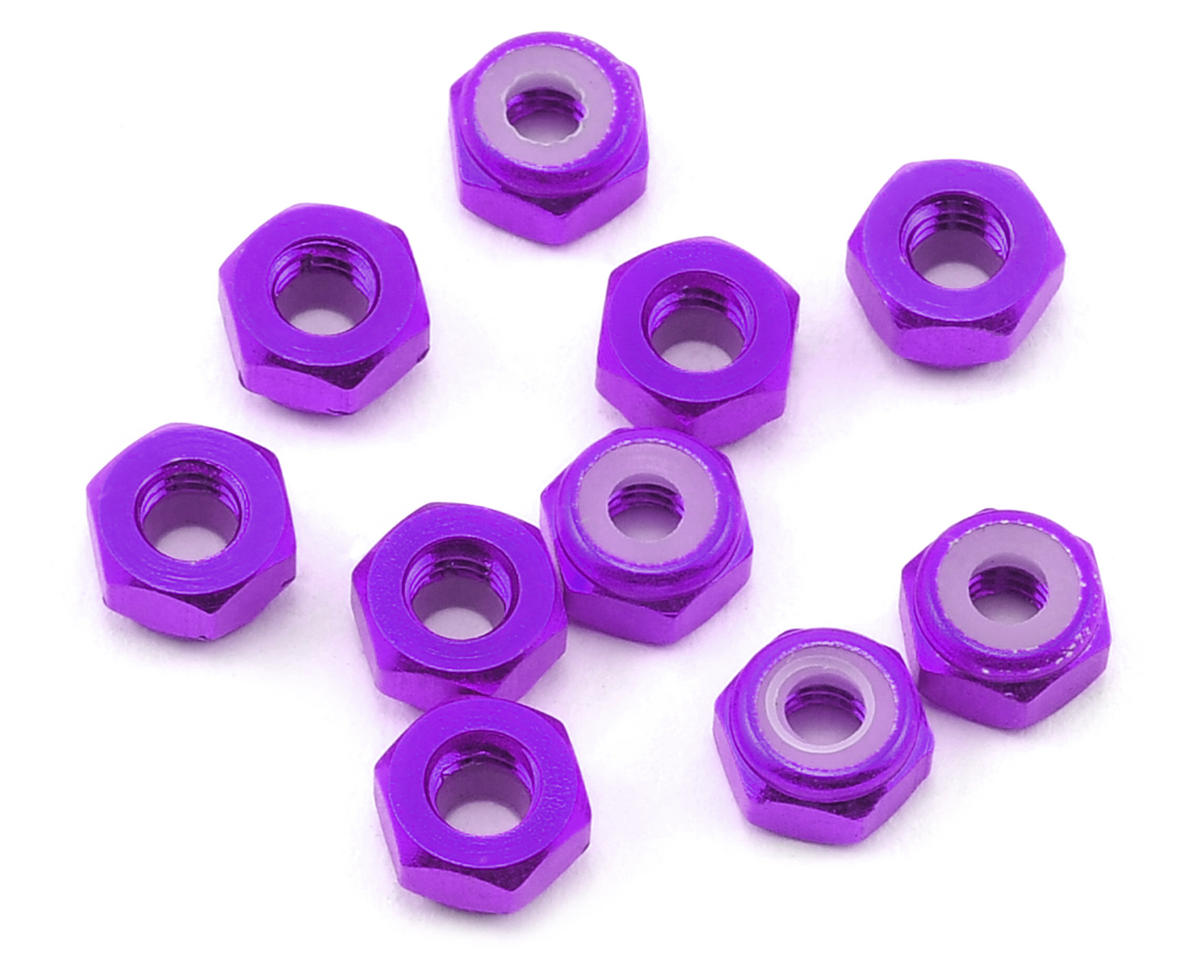 4mm Aluminum Lock Nut (10) (Purple) by Yeah Racing
