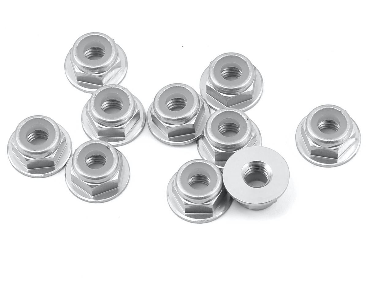 Yeah Racing 4mm Aluminum Flanged Lock Nut (10) (Silver)