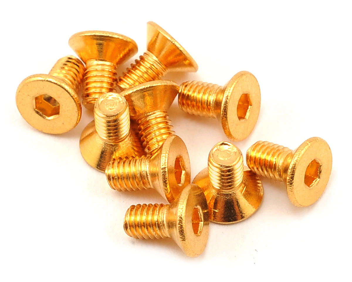 Yeah Racing 3x6mm 24K Gold Coated 12.9 Grade Steel Flat Head Hex Screw (10)