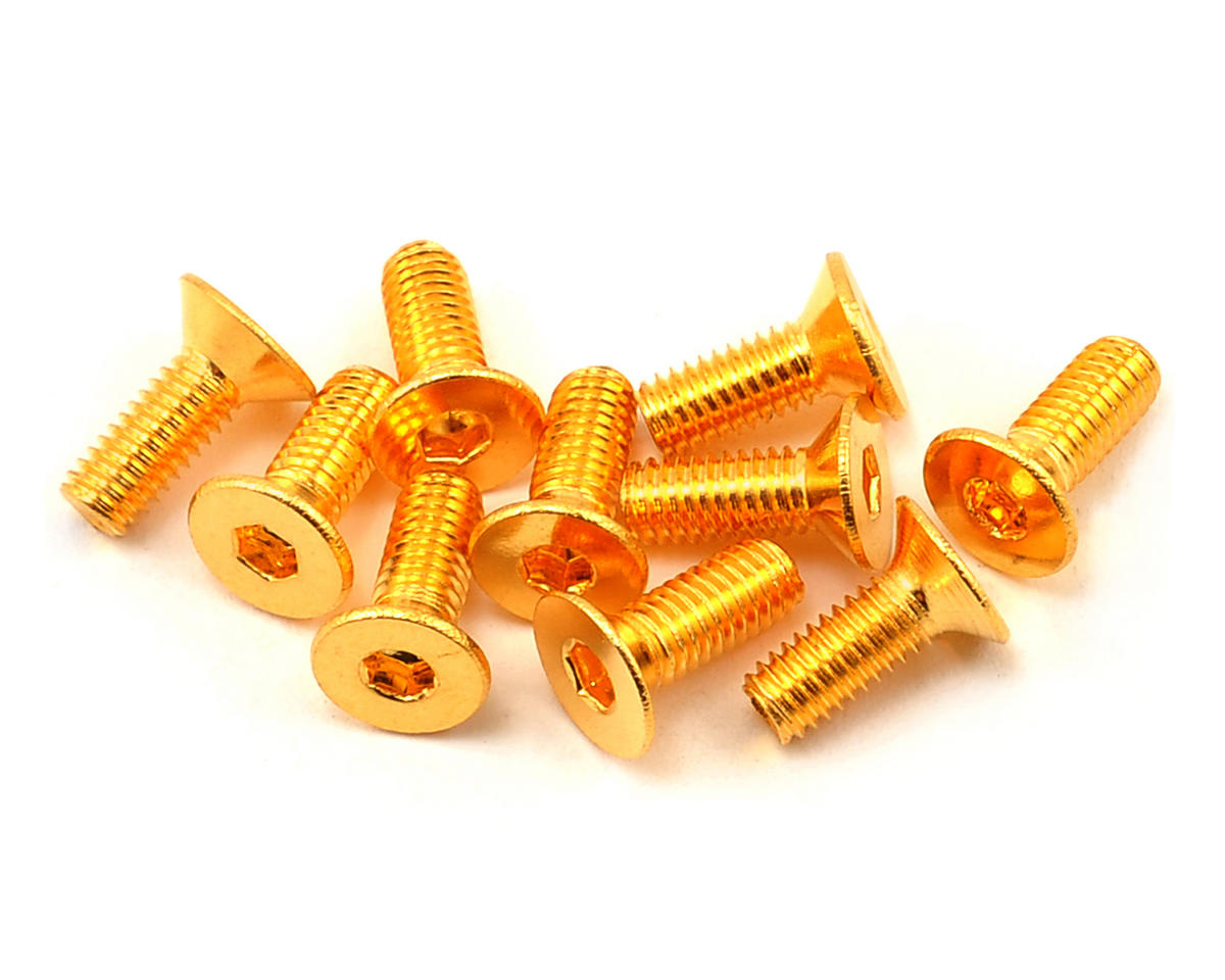 Yeah Racing 3x8mm 24K Gold Coated 12.9 Grade Steel Flat Head Hex Screw (10)