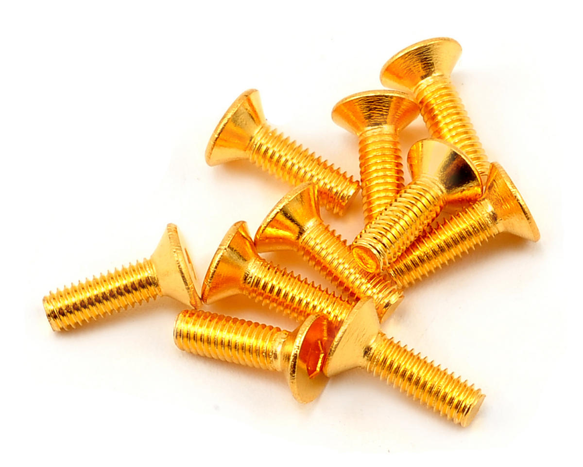 3x10mm 24K Gold Coated 12.9 Grade Steel Flat Head Hex Screw (10) by Yeah Racing