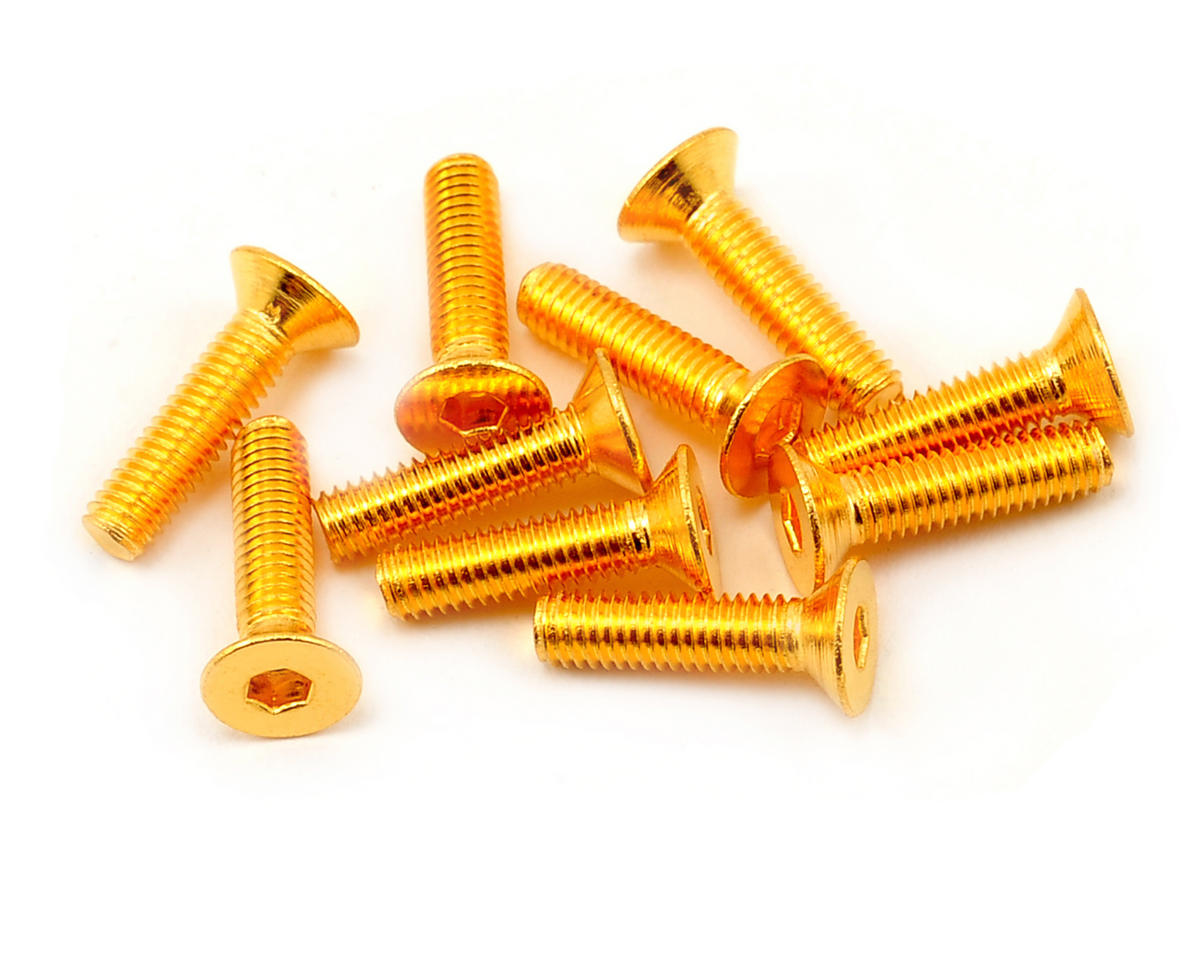 3x12mm 24K Gold Coated 12.9 Grade Steel Flat Head Hex Screw (10) by Yeah Racing