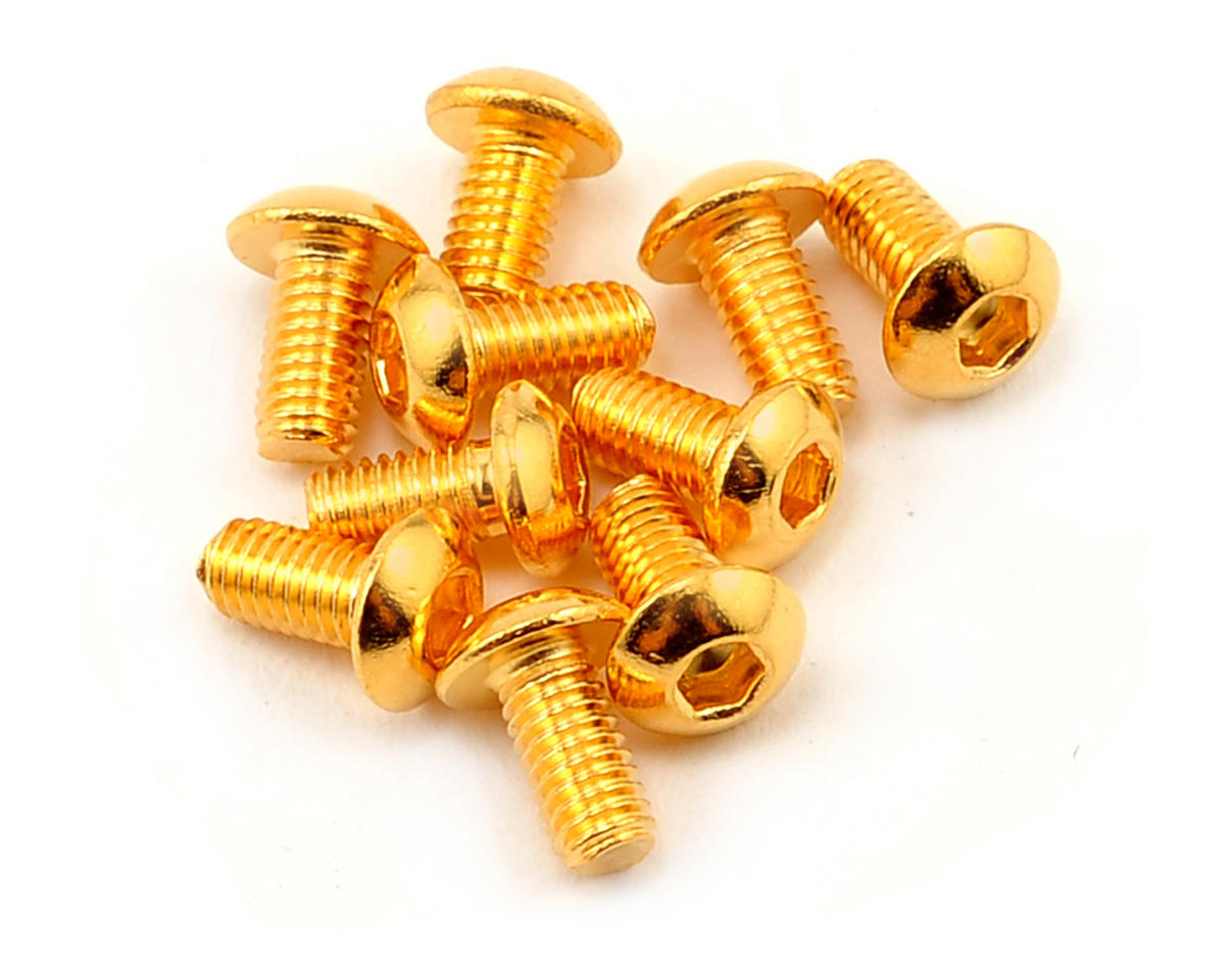 Yeah Racing 3x6mm 24K Gold Coated 12.9 Grade Steel Button Head Hex Screw (10)