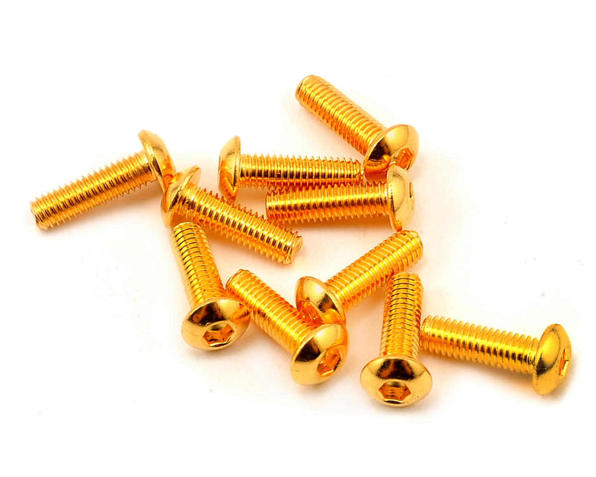 Yeah Racing 3x10mm 24K Gold Coated 12.9 Grade Steel Button Head Hex Screw (10)