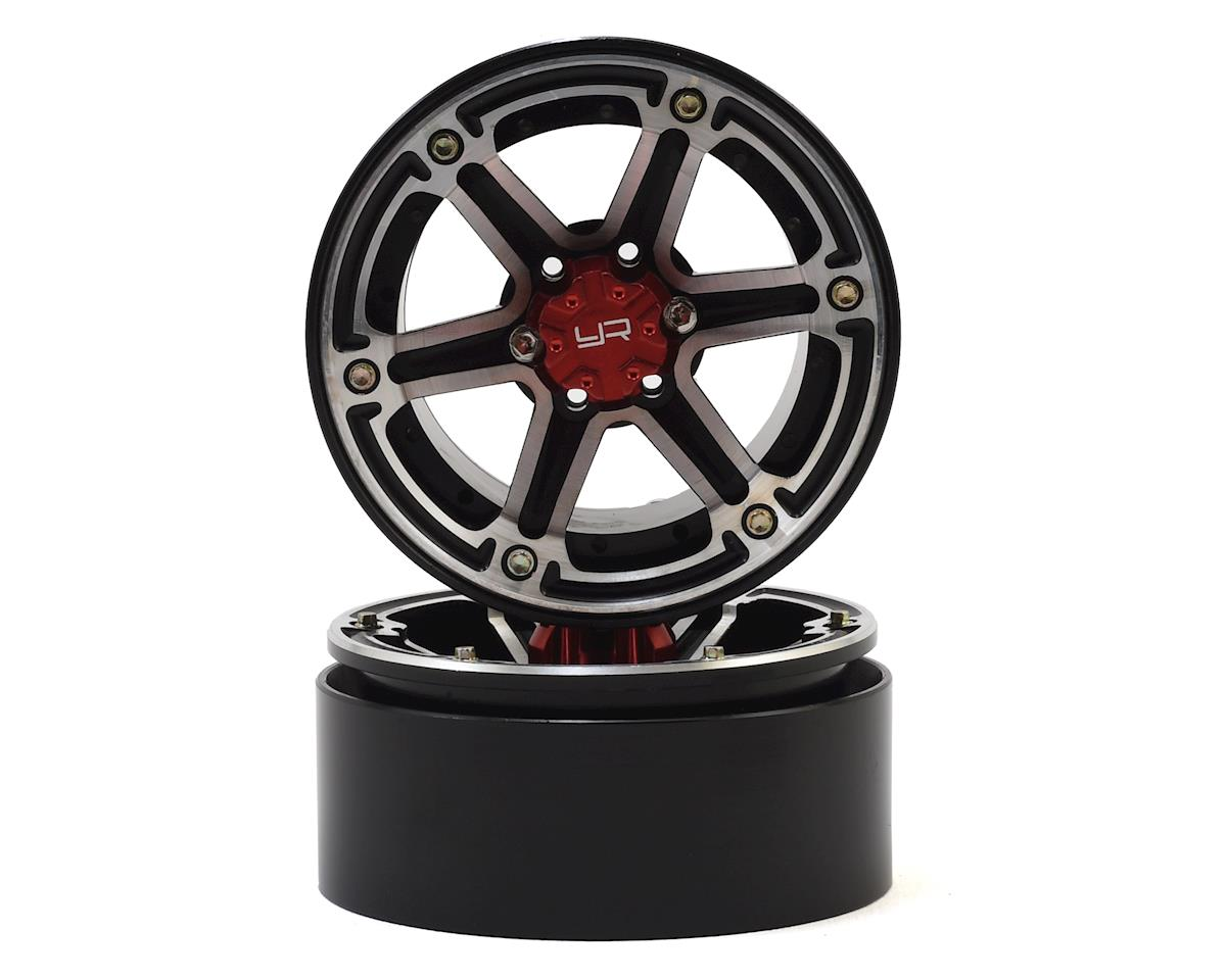 2.2 Aluminum CNC 6 Spoke Beadlock Wheel w/Hub (2) (Black) by Yeah Racing