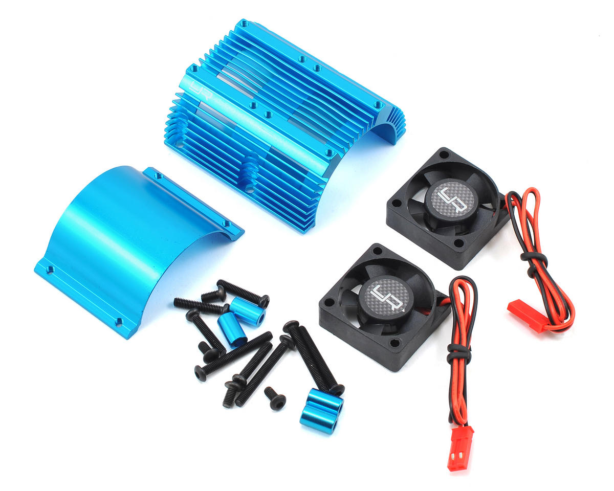Yeah Racing 1/8 Twin Fan Aluminum Heat Sink w/2 Fans (Blue) (40.8mm diameter)