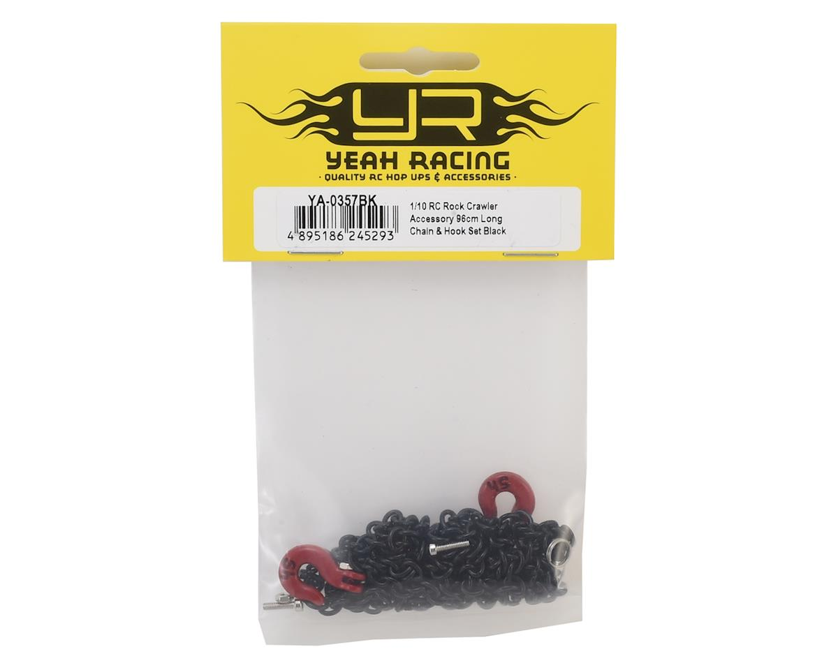 Image 2 for Yeah Racing 96cm 1/10 Crawler Scale Steel Chain Accessory w/Red Hooks (Black)