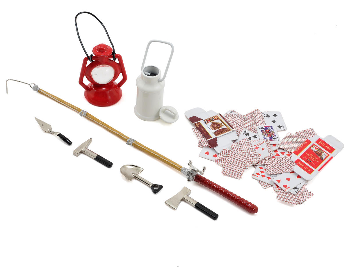 Yeah Racing Scale Crawler Camping Set w/Lamp, Fishing Rod, Poker Cards, Tools