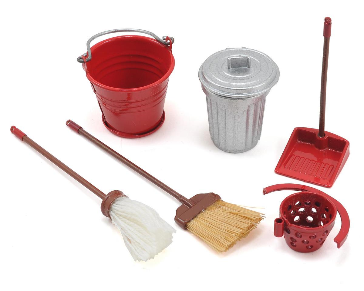 Yeah Racing Scale Crawler Garage Set w/Broom, Dustpan, Mop, Bucket, Garbage Can