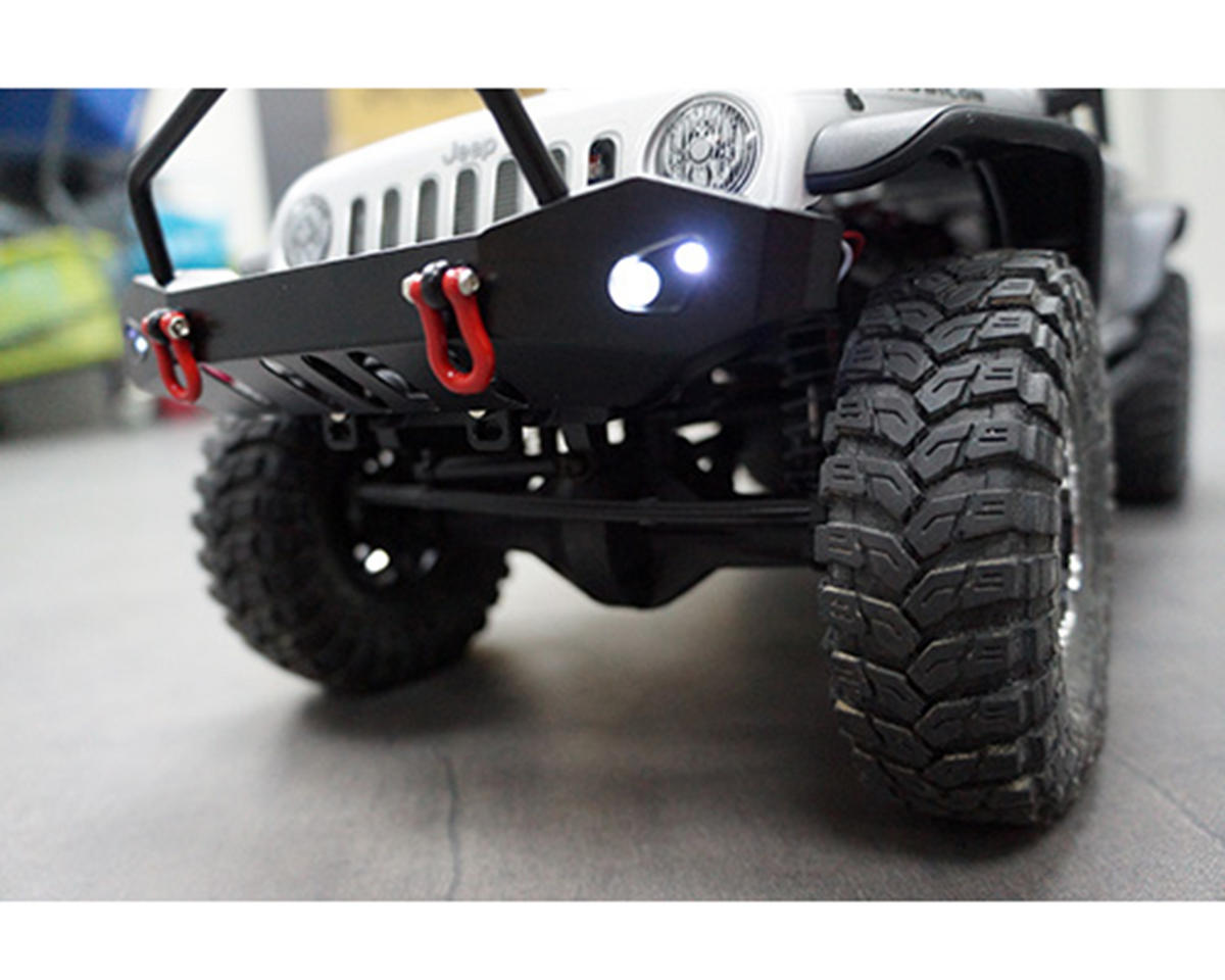 Aluminum SCX10 Front & Rear Bumper Set w/Heavy Duty Shackle & LEDs by Yeah Racing